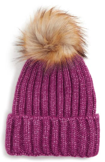 Sole Society Faux Fur Pom Knit Beanie