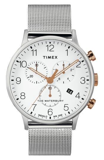 Timex® Waterbury Chronograph Mesh Strap Watch, 40mm