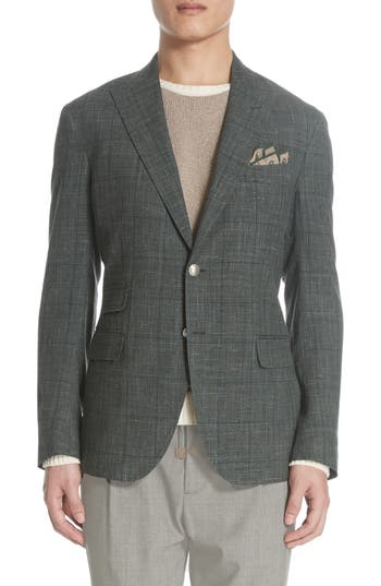 Eleventy Platinum Trim Fit Plaid Wool Blend Sport Coat