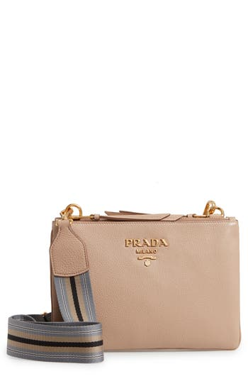 Prada Vitello Daino Double Compartment Leather Crossbody Bag