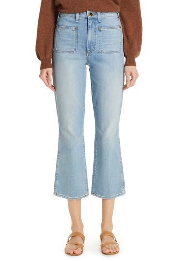 Khaite Rachel Patch Pocket Crop Flare Jeans