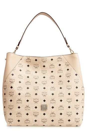 MCM Large Klara Visetos Coated Canvas Hobo