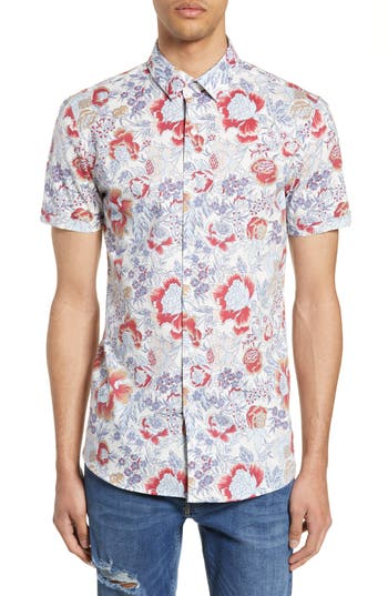 Topman Floral Print Slim Fit Shirt
