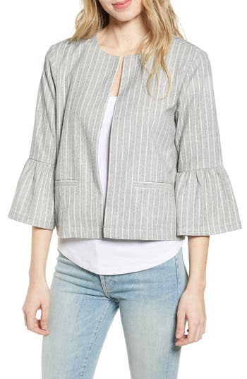 cupcakes and cashmere Bell Cuff Pinstripe Crop Jacket