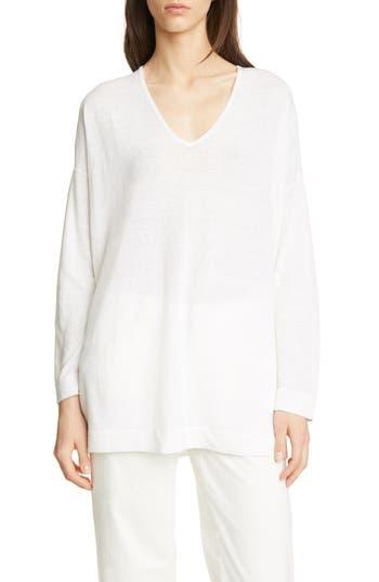 Eileen Fisher Bateau Neck Organic Linen & Cotton Tunic (Regular & Petite)