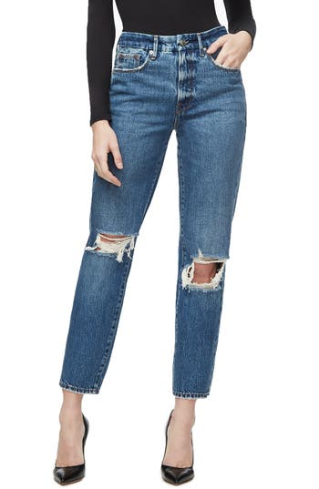 Good American Good Vintage Ripped Ankle Straight Leg Jeans (Regular & Plus Size)