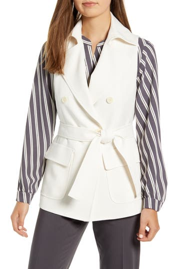 Anne Klein Tie Front Double Breasted Vest