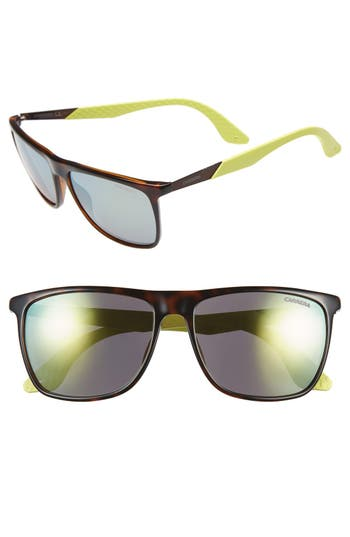 Men's Carrera Eyewear 56Mm Retro Sunglasses - Havana/ Yellow/ Yellow Mirror
