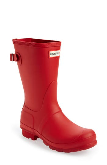 Hunter Original Short Back Adjustable Rain Boot, Red