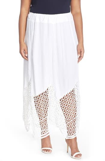 Plus Size Women's Xcvi Wearables 'Lauryn' Lace Border Midi Skirt, Size 3X - White
