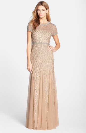 Adrianna Papell Beaded Mesh Gown, Beige