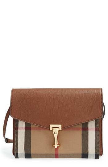 Burberry 'Small Macken' Check Crossbody Bag - Beige at NORDSTROM.com