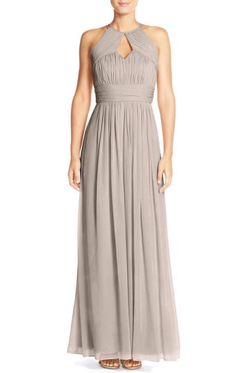 Dessy Collection Ruched Chiffon Keyhole Halter Gown, Beige
