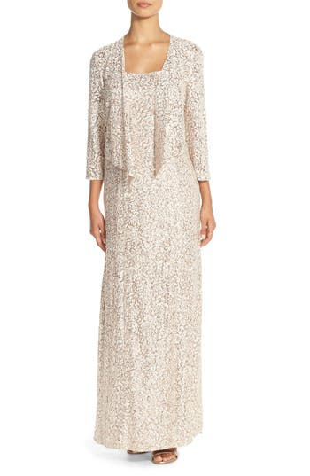 Alex Evenings Sequin Embroidered Mesh A-Line Gown & Jacket