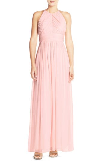 Dessy Collection Ruched Chiffon Open Back Halter Gown, Pink