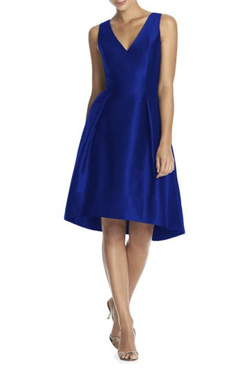 Alfred Sung Satin High/low Fit & Flare Dress, Blue (Online Only)