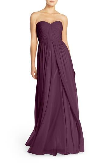Jenny Yoo Mira Convertible Strapless Chiffon Gown, Black