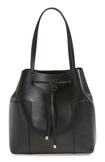 Tory Burch 'Block-T' Leather Drawstring Tote -