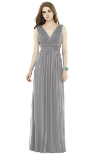Alfred Sung V-Neck Pleat Chiffon Knit A-Line Gown, Metallic