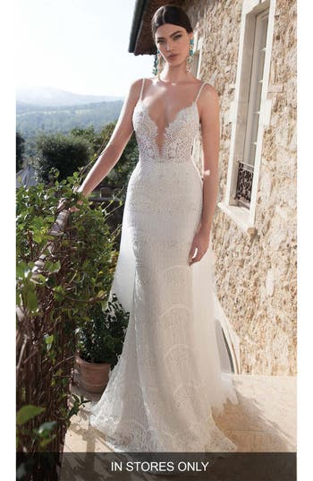 Women's Berta Embellished Lace Column Gown With Detachable Train