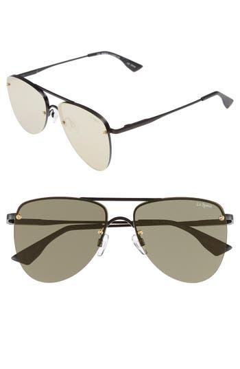Le Specs The Prince 57Mm Aviator Sunglasses - Matte Black/ Gold