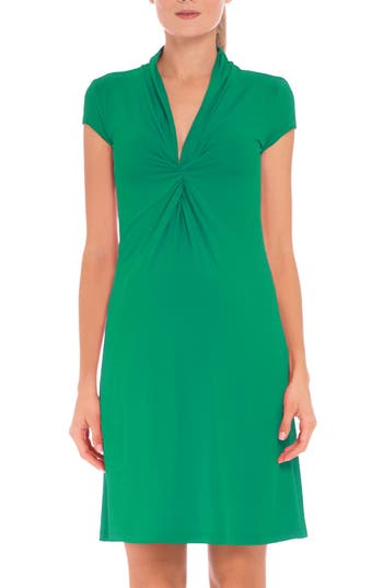 Women's Olian Maternity Wrap Dress, Size Large - Green