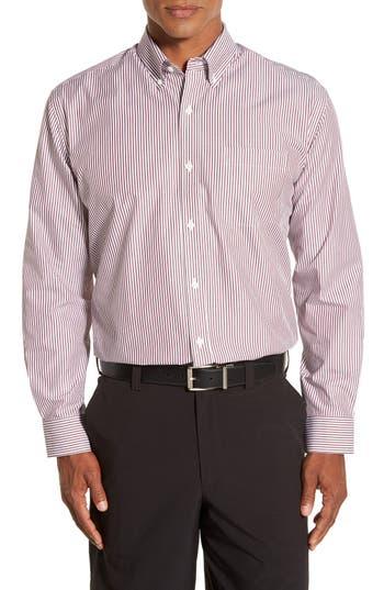 Men's Cutter & Buck 'Epic Easy Care' Regular Fit Mini Bengal Stripe Sport Shirt, Size Small - Burgundy