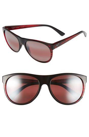 Maui Jim Rising Sun 57Mm Polarizedplus2 Sunglasses - Burgundy Stripe/ Maui Rose