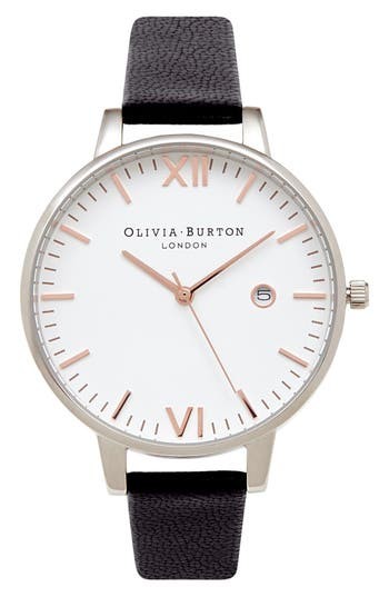 Women's Olivia Burton 'Timeless' Leather Strap Watch, 38Mm