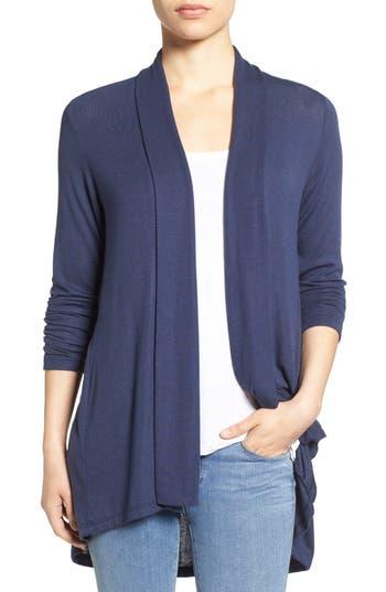 Women's Bobeau High/low Jersey Cardigan, Size X-Small - Blue
