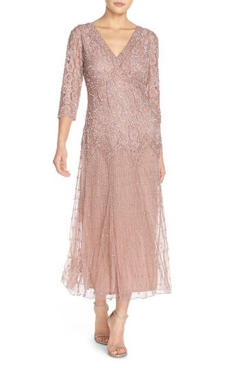 Pisarro Nights Beaded Mesh Dress, Pink