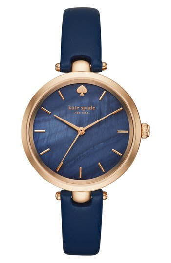 kate spade new york 'holland' round leather strap watch, 34mm