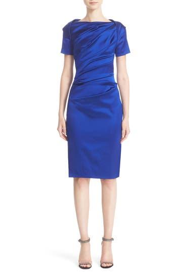 Talbot Runhof Stretch Satin Sheath Dress, Blue