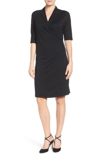 Women's Press Faux Wrap Dress, Size Medium - Black