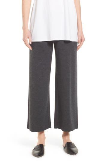Eileen Fisher Wool Jersey Wide Leg Ankle Pants