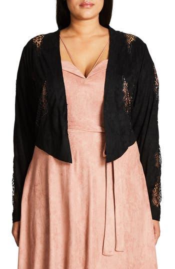 Plus Size Women's City Chic Lace Crop Jacket