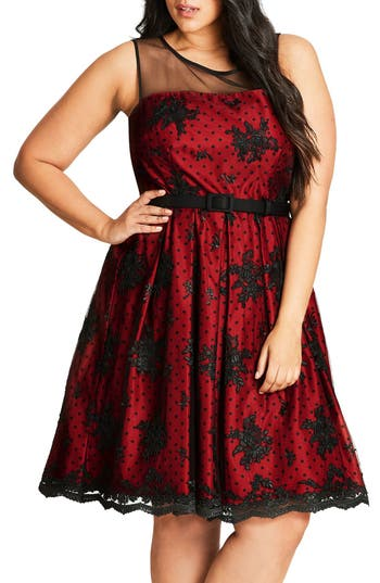 Plus Size City Chic Embroidered Ruby Belted Fit & Flare Dress