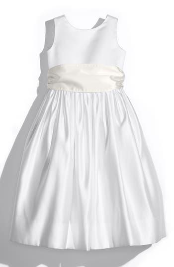 Girls Us Angels White Tank Dress With Satin Sash Size 8  Ivory