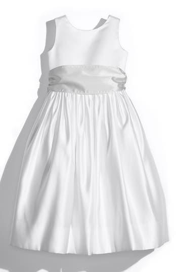 Girls Us Angels White Tank Dress With Satin Sash Size 8  Metallic