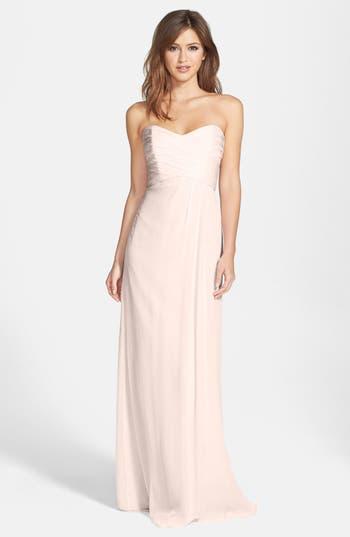 Amsale Strapless Crinkle Chiffon Gown, Orange