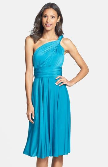 Plus Size Dessy Collection Convertible Wrap Tie Surplice Jersey Dress, Blue