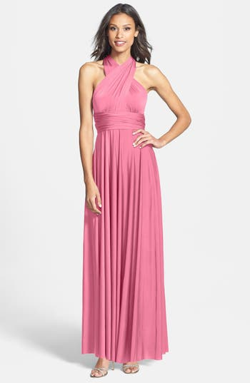 Plus Size Dessy Collection Convertible Wrap Tie Surplice Jersey Gown, Pink