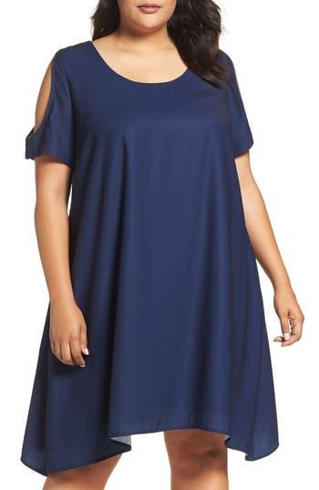 Plus Size Sejour Cold Shoulder Swing Dress, Blue
