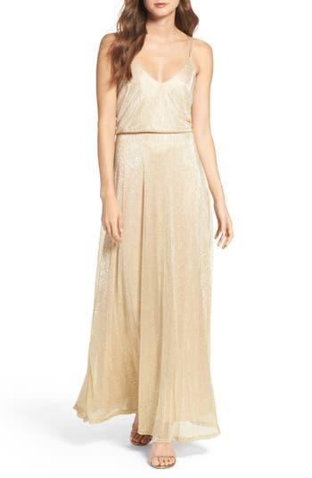 Lulus Blouson Shimmer Gown, Metallic