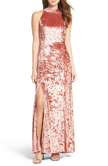 Lulus Strappy Back Crushed Velvet Gown, Pink