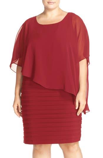 Plus Size Adrianna Papell Chiffon Overlay Shutter Pleat Sheath Dress, Red