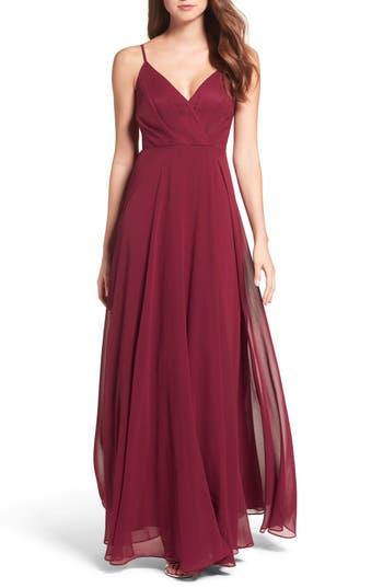 Lulus Surplice Chiffon Gown, Burgundy