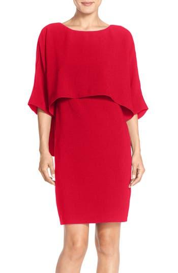 Adrianna Papell Draped Blouson Sheath Dress, Red