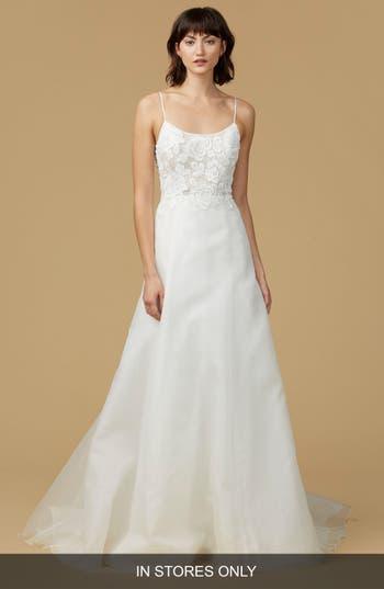 Nouvelle Amsale Viv Lace Applique Silk Organza A-Line Gown
