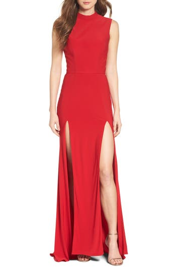 Ieena For MAC Duggal Jersey Double Slit Gown, Red